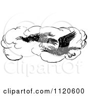 Clipart Of Retro Vintage Black And White Flying Crows Royalty Free Vector Illustration