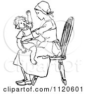 Clipart Of A Retro Vintage Black And White Girl Holding An Upset Toddler Royalty Free Vector Illustration