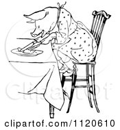 Clipart Of A Retro Vintage Black And White Pig Eating At A Table Royalty Free Vector Illustration by Prawny Vintage