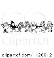 Clipart Of A Retro Vintage Black And White Border Of The Seven Dwarfs Royalty Free Vector Illustration