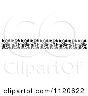 Clipart Of A Retro Vintage Black And White Floral Border 8 Royalty Free Vector Illustration