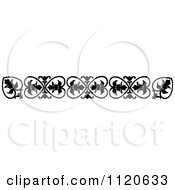 Clipart Of A Retro Vintage Black And White Floral Border 3 Royalty Free Vector Illustration