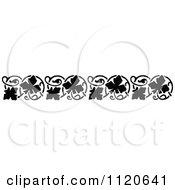 Clipart Of A Retro Vintage Black And White Floral Border 4 Royalty Free Vector Illustration