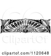 Clipart Of A Retro Vintage Black And White Art Deco Border 1 Royalty Free Vector Illustration