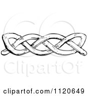 Clipart Of A Retro Vintage Black And White Knot Border Royalty Free Vector Illustration