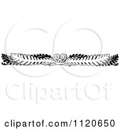 Clipart Of A Retro Vintage Black And White Fern Leaf And Frond Border Royalty Free Vector Illustration