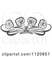 Clipart Of A Retro Vintage Black And White Floral Leaf Border Royalty Free Vector Illustration