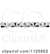 Clipart Of A Retro Vintage Black And White Oak Leaf And Acorn Border Royalty Free Vector Illustration