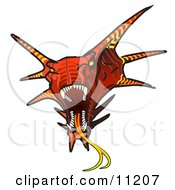 Aggressive Horned Red Dragon Showing Its Fangs And Tongue Clipart Illustration by Leo Blanchette