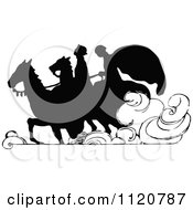 Clipart Of A Retro Vintage Black And White Silhouetted Couple Riding Horses Royalty Free Vector Illustration by Prawny Vintage