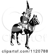 Retro Vintage Black And White Army Soldier With A Flag 3