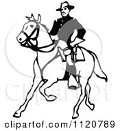 Clipart Of A Retro Vintage Black And White Army Soldier On Horseback Royalty Free Vector Illustration by Prawny Vintage