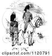 Clipart Of Retro Vintage Black And White Scottish Highlander Soldiers Royalty Free Vector Illustration by Prawny Vintage