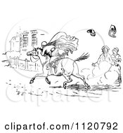Clipart Of A Retro Vintage Black And White Horseback Rider Racing Through The Street Royalty Free Vector Illustration by Prawny Vintage