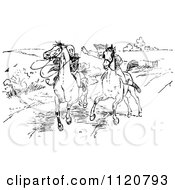 Clipart Of A Retro Vintage Black And White Horseback Rider Chasing Another Royalty Free Vector Illustration by Prawny Vintage