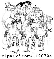 Clipart Of Retro Vintage Black And White Huntsmen On Horseback Royalty Free Vector Illustration by Prawny Vintage