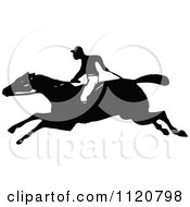 Clipart Of A Retro Vintage Black And White Horse And Jockey Royalty Free Vector Illustration
