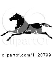 Clipart Of A Retro Vintage Black And White Horse Running Royalty Free Vector Illustration