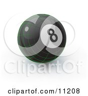 Black 8 Ball With Green Geometric Lines On A White Background Clipart Illustration