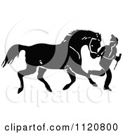 Clipart Of A Retro Vintage Black And White Horse Running With Its Master Royalty Free Vector Illustration