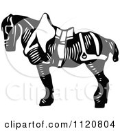 Clipart Of A Retro Vintage Black And White Saddled Horse Royalty Free Vector Illustration by Prawny Vintage