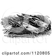 Clipart Of Retro Vintage Black And White Racing Horses Head To Head Royalty Free Vector Illustration