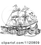 Clipart Of A Retro Vintage Black And White Crew Of Mice Sailing A Ship With A Duck Royalty Free Vector Illustration by Prawny Vintage