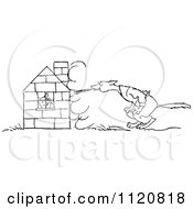 Clipart Of A Retro Vintage Black And White Big Bad Wolf Trying To Blow Down A Pigs House Of Bricks Royalty Free Vector Illustration by Prawny Vintage