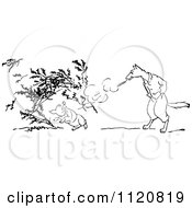 Clipart Of A Retro Vintage Black And White Big Bad Wolf Blowing Down A Pigs House Of Twigs Royalty Free Vector Illustration by Prawny Vintage