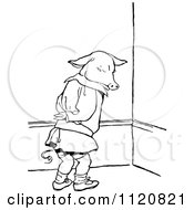 Clipart Of A Retro Vintage Black And White Naughty Pig In Time Out Royalty Free Vector Illustration