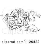 Clipart Of A Retro Vintage Black And White Old Woman And Pig 1 Royalty Free Vector Illustration by Prawny Vintage