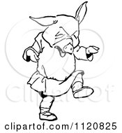 Clipart Of A Retro Vintage Black And White Pig Throwing A Tantrum Royalty Free Vector Illustration
