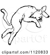 Clipart Of A Retro Vintage Black And White Jumping Lamb 1 Royalty Free Vector Illustration by Prawny Vintage