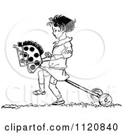 Clipart Of A Retro Vintage Black And White Girl Playing With A Hobby Horse Royalty Free Vector Illustration by Prawny Vintage #COLLC1120840-0178
