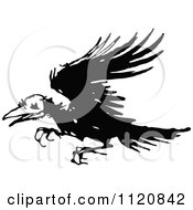 Clipart Of A Retro Vintage Black And White Ragged Raven Royalty Free Vector Illustration