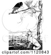 Clipart Of A Retro Vintage Black And White Crow In A Tree Above A Fox Royalty Free Vector Illustration