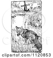 Clipart Of A Retro Vintage Black And White Fox Near A Pond And Farm Royalty Free Vector Illustration by Prawny Vintage