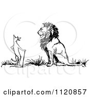Clipart Of A Retro Vintage Black And White Fox And Lion Royalty Free Vector Illustration by Prawny Vintage