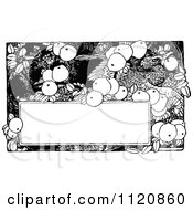 Clipart Of A Retro Vintage Black And White Fruit And Bird Frame Royalty Free Vector Illustration