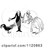 Clipart Of A Retro Vintage Black And White Old Couple And Rooster Royalty Free Vector Illustration