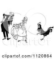 Clipart Of A Retro Vintage Black And White Old Couple And Dancing Rooster Royalty Free Vector Illustration
