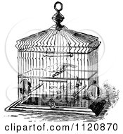 Clipart Of A Retro Vintage Black And White Pet Bird In A Cage Royalty Free Vector Illustration