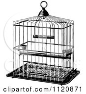 Clipart Of A Retro Vintage Black And White Metal Bird Cage Royalty Free Vector Illustration