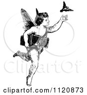 Clipart Of A Retro Vintage Black And White Cherub Releasing A Bird Royalty Free Vector Illustration