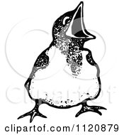 Clipart Of A Retro Vintage Black And White Hungry Chick Royalty Free Vector Illustration by Prawny Vintage