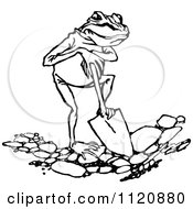 Clipart Of A Retro Vintage Black And White Frog Digging Royalty Free Vector Illustration by Prawny Vintage