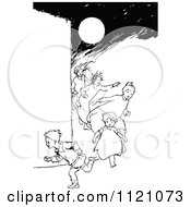 Clipart Of Retro Vintage Black And White Children Running In The Night Royalty Free Vector Illustration by Prawny Vintage