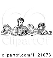 Clipart Of A Retro Vintage Black And White Boy Eating With His Siblings Royalty Free Vector Illustration