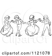 Clipart Of Retro Vintage Black And White Children Dancing 1 Royalty Free Vector Illustration by Prawny Vintage