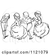 Clipart Of Retro Vintage Black And White Children Dancing 2 Royalty Free Vector Illustration